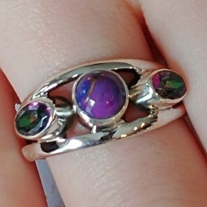 Purple Copper Turquoise & Topaz Ring